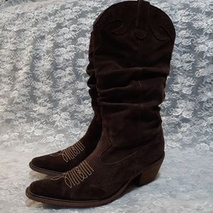 "Steve Madden Brown Suede ""Saddle"" Cowboy Boots 7.5"